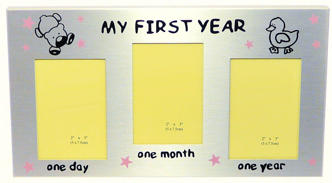 My First Year Photo Frame Pink Stars - Baby Girl s First Birthday Or ...