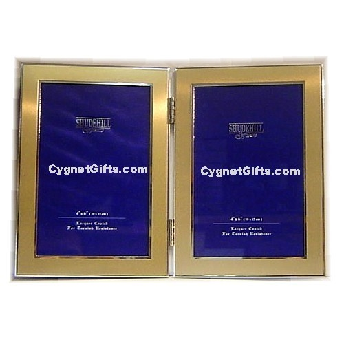 Gold Colour Double Photo Frame Two Photos 6 X 4 Inches