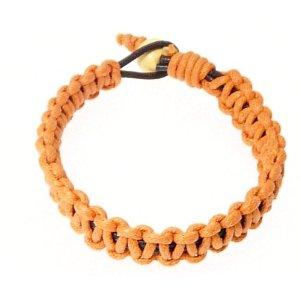 Leather Bracelet Wristband Wrapped In Orange Coloured Cord 185