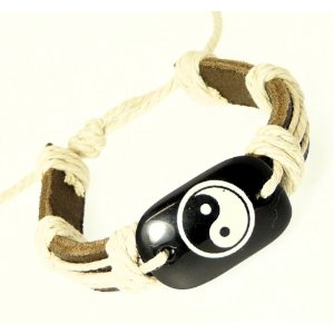Leather Strap & Cord Surf Wristband Bracelet With Decorative Bone Effect Centre Piece