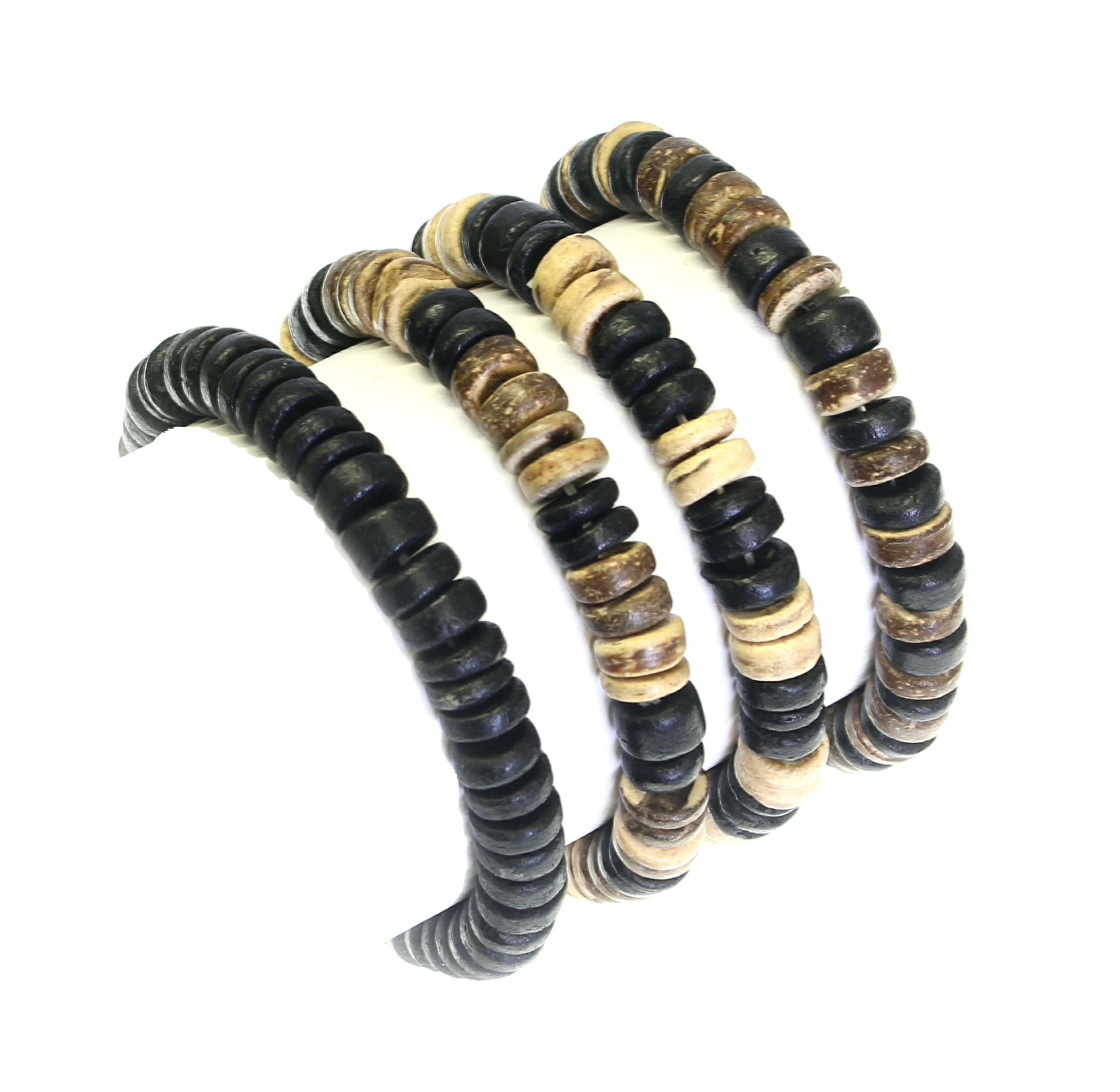 Set Of 4 Coco Wood Bead Elasticated Surfer Style Bracelets Wristbands B